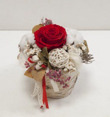 Composizione con Rosa Stabilizzata - Vivaio Arreda Online Shop