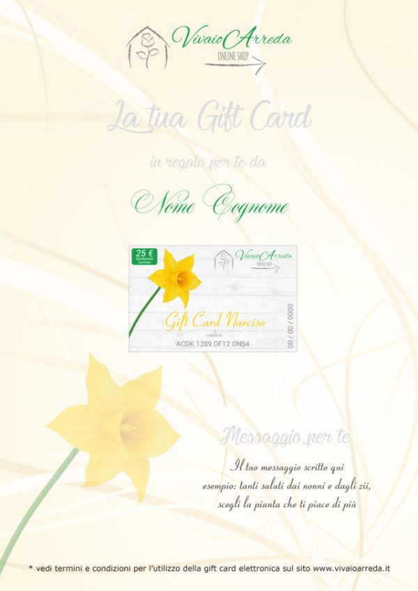 Gift Card Narciso 25 - Vivaio Arreda Online Shop