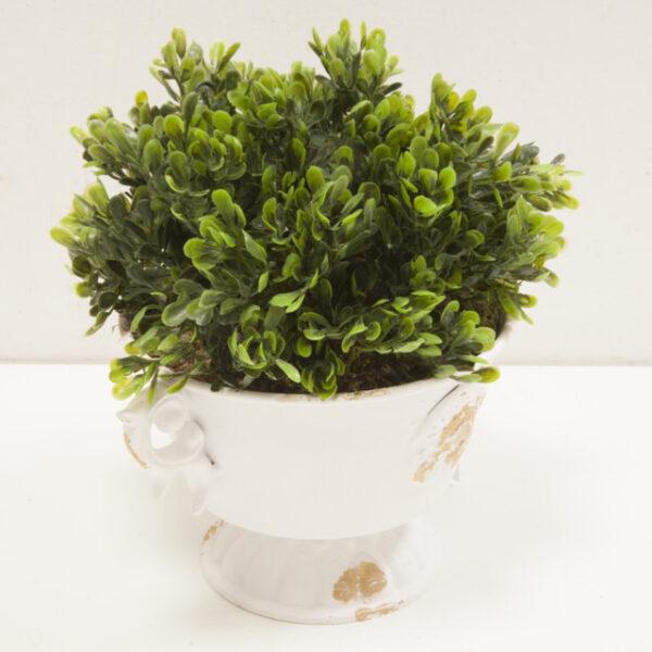 Vaso Coppa Elegance Anticato Shabby con pianta artificiale