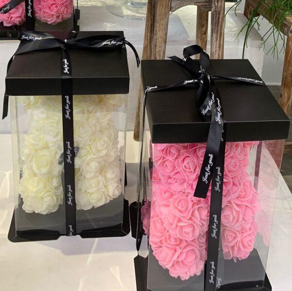 orsetto rose rosa e bianche