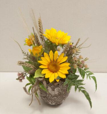 composizione girasole in vaso